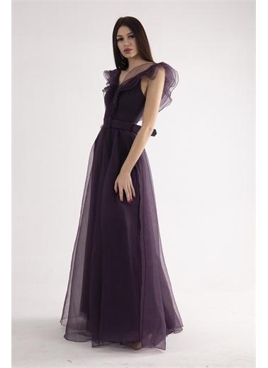 Belamore  Mor Volanlı Abiye & Mezuniyet Elbisesi 1301601.03 Mor